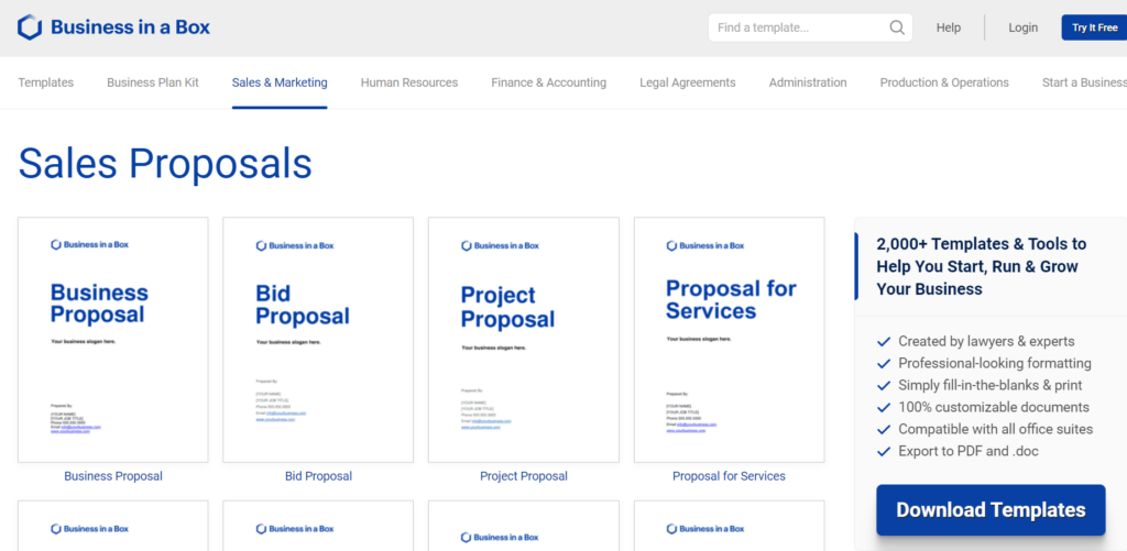 business-in-a-box.com – one business proposal format for all your needs