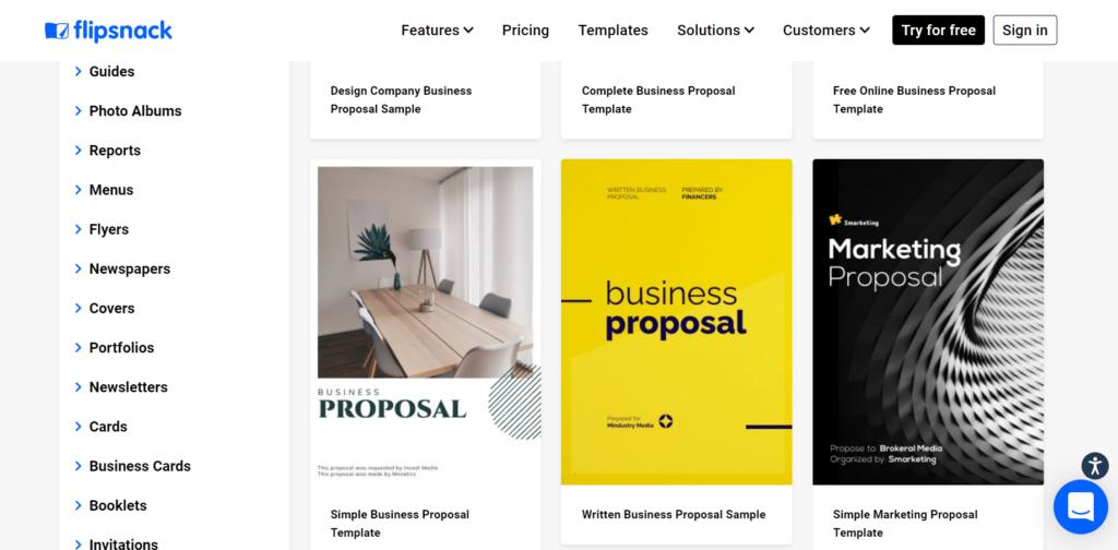 flipsnack.com – versatile business proposal templates
