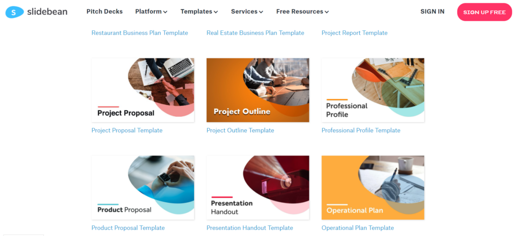 slidebean.com – find a free product proposal sample in PPT