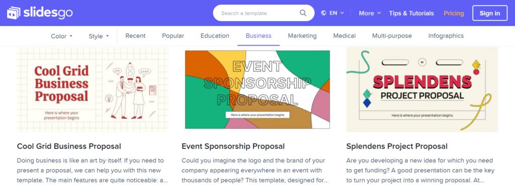 slidesgo.com – business presentation templates in many styles