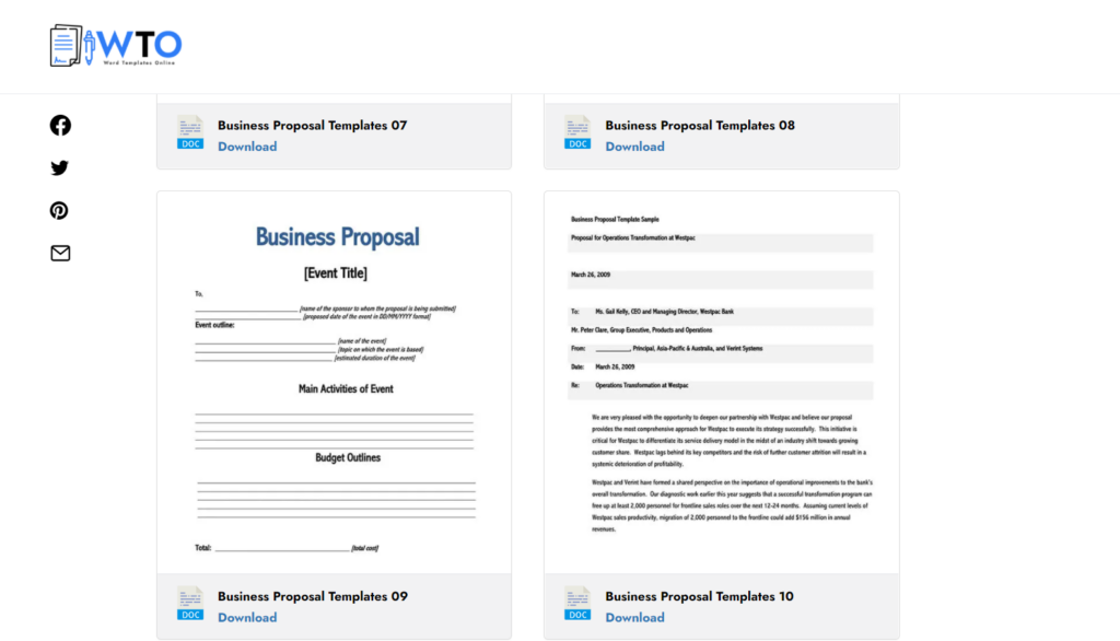 wordtemplatesonline.net – create a simple business proposal letter in DOC
